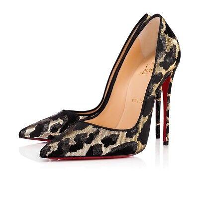 NIB Christian Louboutin So Kate 120 Black Gold Silver Lurex Feline Heel Pump 35