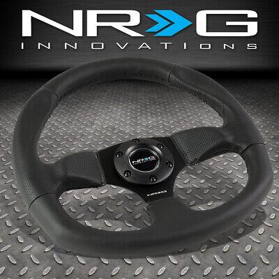 NRG REINFORCED 320MM ALUMINUM BLACK LEATHER FLAT BOTTOM D-SHAPE STEERING WHEEL 320 Mm Matte