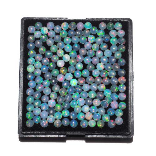 30 Pcs Lot Natural Ethiopian Opal 4mm Round Flashy Untreated Cabochon Gemstones