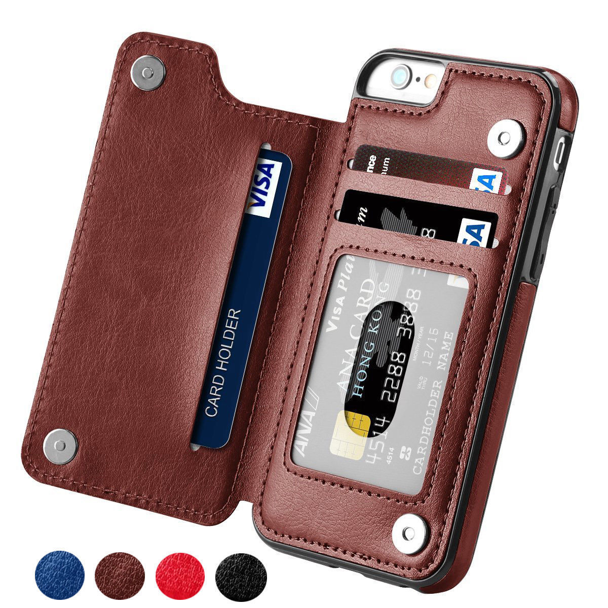 Dooqi Leather Wallet Case Card Slot Flip Cover For Apple iPh