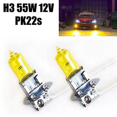 Kurven 3 Glühbirnen (2x H3 55W PK22s Aqua Vision Jurmann Halogen Lampen Gelb Gold Ersatz Autolicht)
