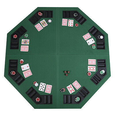 """48"""" Green Octagon 8 Player Four Fold Folding Poker Table Top & Carrying Case"""