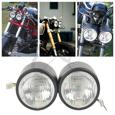 """matte black dual 4"""" headlight for streetfighter cafe racer dual"""