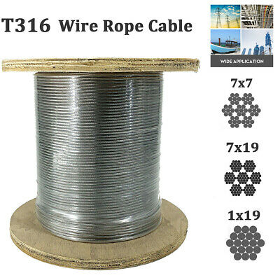 T316 Stainless Steel Cable 18 316 Steel Wire Rope 500ft Railing Decking