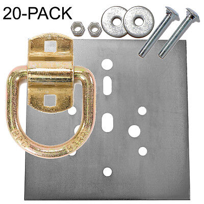 """Heavy Duty D-Ring 12,240 lb Tiedown and Backing Plate w/ 2-1/2"""" Hardware 20-Pack"""