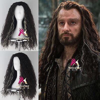 The Hobbit Thorin Oakenshie Men Long Curly Movie Anime Cosplay Halloween Wig  - Hobbit Thorin