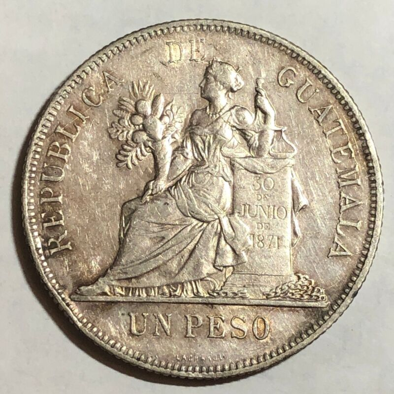 1894 Guatemala UN PESO, AU. #ud1    (large crown-sized silver coin)
