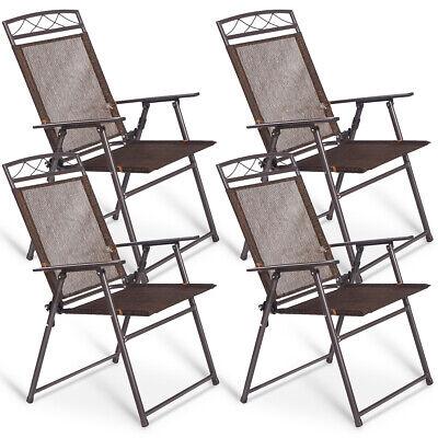 Liegestuhl-set (Klappstühle 4er Set Gartenstühle klappbar Campingstuhl mit Armlehnen Liegestuhl)