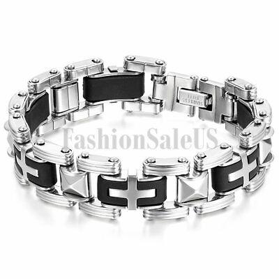 16mm Stainless Steel Rubber Cross Bracelet Men's Stylish Biker Bangle Cuff 8.5