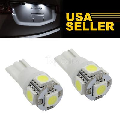 2x Xenon White 5 5050 SMD LED Bulbs For License Plate Light 168 194 2825 T10 W5W