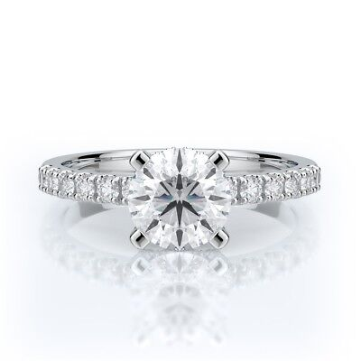 1 1/4 CTW ROUND CUT D VS2 DIAMOND ENGAGEMENT RING 14K WHITE GOLD CERTIFIED