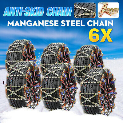 6Pc Steel Car Tire Snow Chain Anti-skid Wear-resistant Chains Winter Safety Belt