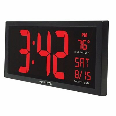 Big Digital Wall Clock Large LED Display School Office Electronic w Temperature