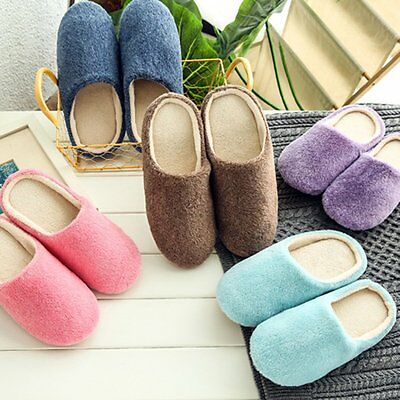 Women Men House Indoor Slippers Home Warm Cotton Velvet Shoes Sandals Anti-Slip