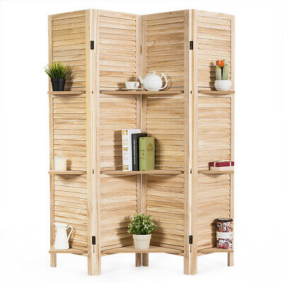 4 Panel Folding Room Divider Screen W/3 Display Shelves 5.6 Ft Tall - 3 Panel Folding Screen