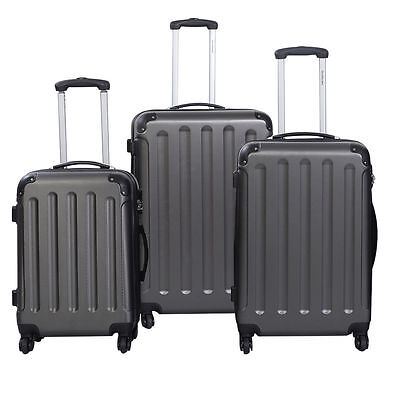 3 Pcs Luggage Travel Set Bag ABS+PC Trolley Suitcase Gray