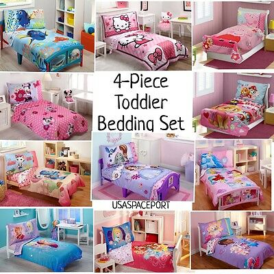 4pc Girls TODDLER BEDDING SET Comforter + Sheets Childs Bed Room in a Bag Sheet