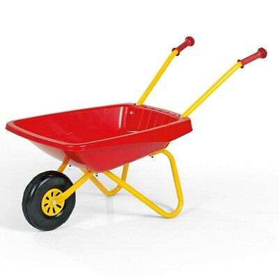 Kid's Wheelbarrow Red Yellow Outdoor Fun Play Large Front Metal Frame Hand Grips
