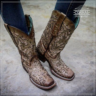 Corral Womens Orix Brown Glittered Inlay   Studs Square Toe Boots C3275