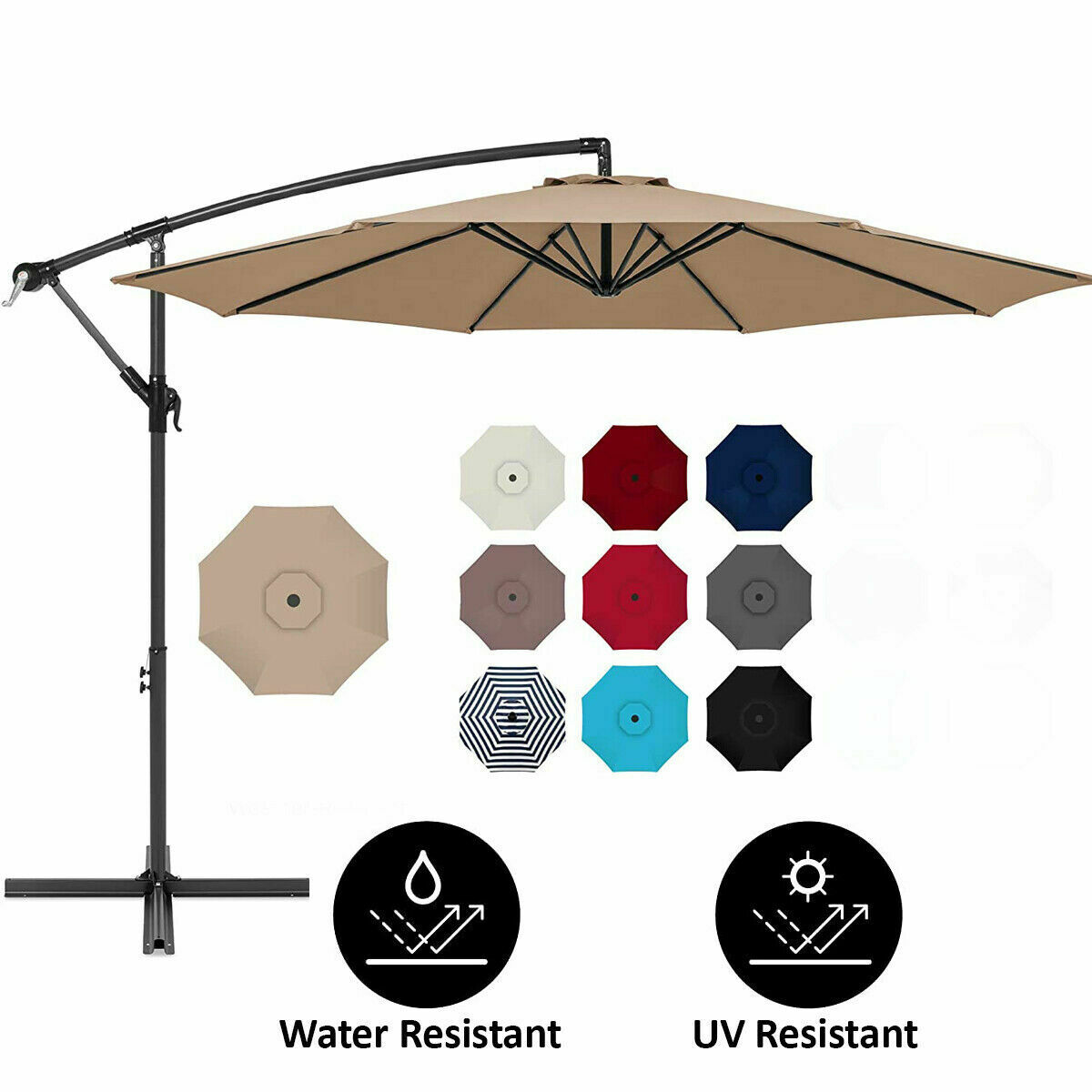 10 FT PATIO UMBRELLA OFFSET HANGING FOLDING SUN SHADE CANTILEVER W/CROSS BASE Garden Structures & Shade