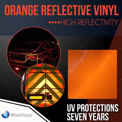 Reflective Orange Sign Vinyl Adhesive Safety Plotter Cutter 12 X 10 Ft