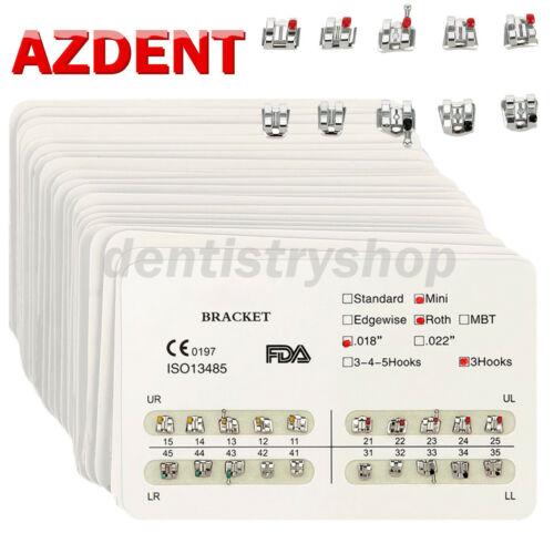 10packs Azdent Dental Brackets Mini/standard Mbt/roth 022/018 Hooks 3 4 5