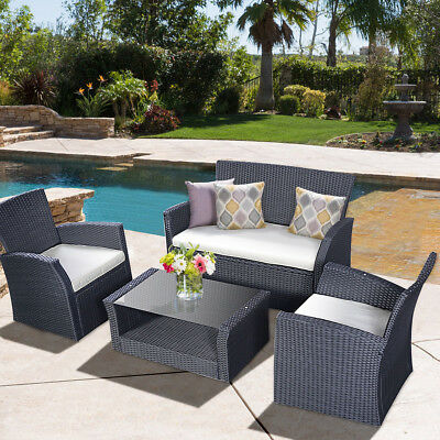 Garden Furniture - Goplus 4PCS Outdoor Patio  Furniture Set Wicker Garden Lawn Sofa Rattan