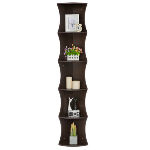 corner wall shelf display rack 5 tier