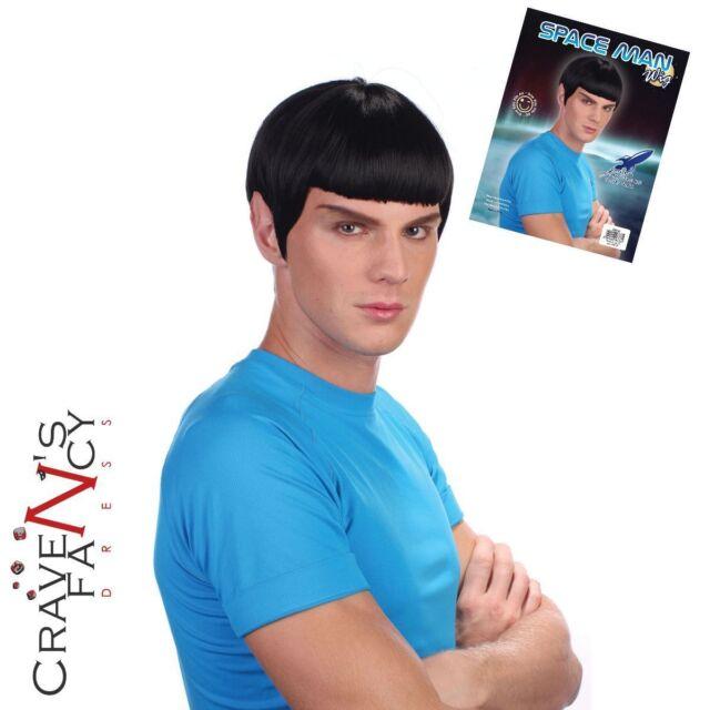 Space Trek Man Black Wig Star Sci Fi 60s Film TV Fancy Dress Stag Party Spock