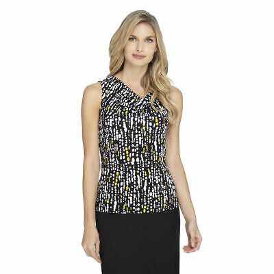 NWT-Tahari ASL ~Sizes S-M-L-XL~ Print Pleat-Neck Sleeveless Women's Top Blouse