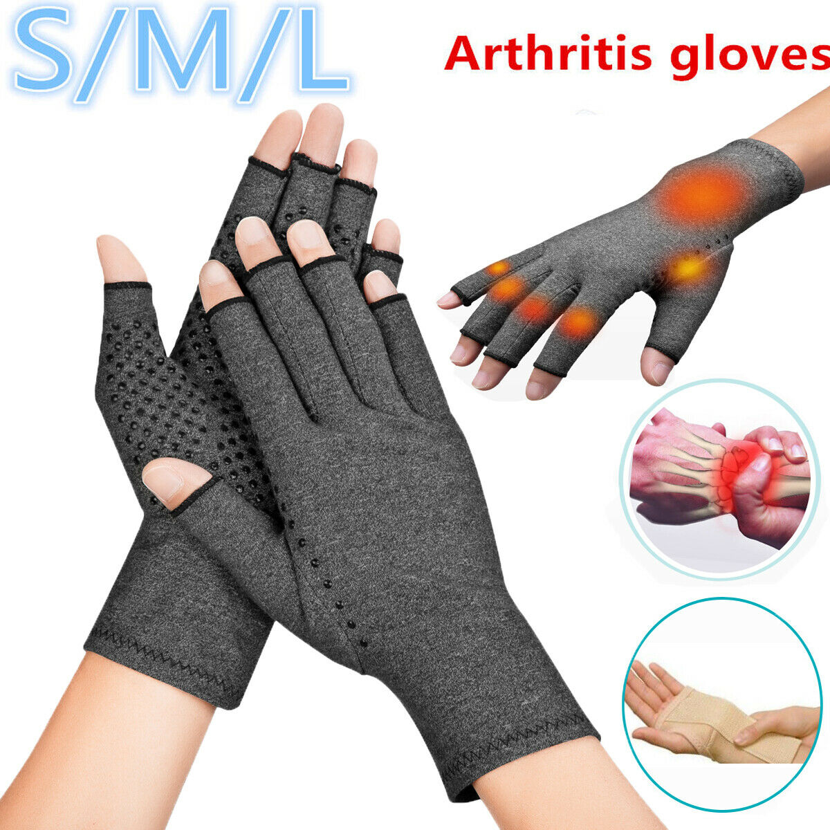 Copper Fit Compression Gloves Arthritis Carpal Tunnel Hand W