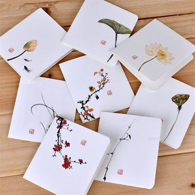 4pcs Chinese Style Flower Greeting Cards With Paper Envelope Holiday Card Random ()