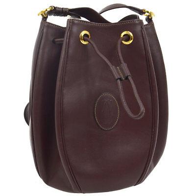 Must de Cartier Drawstring Shoulder Bag Bordeaux Leather Authentic RK13673i