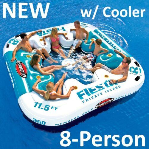 NEW Sportsstuff Fiesta Island 8-Person Floating Lake Raft Lounge Cooler 54-2010