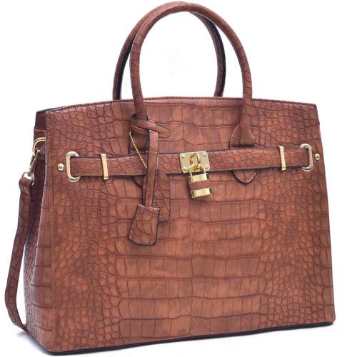 New Women Handbag Lock Croco Faux Leather Satchel Briefcase