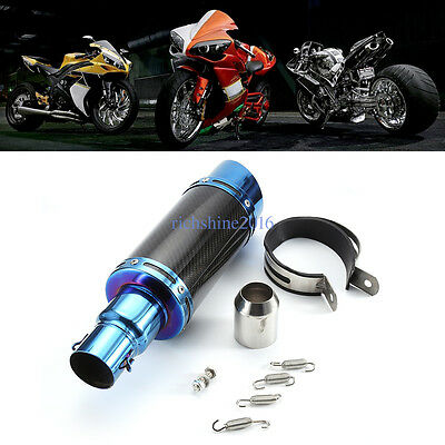 Motorcycle Carbon Fiber Exhaust Muffler Pipe Silencer System blue-black 38-51mm