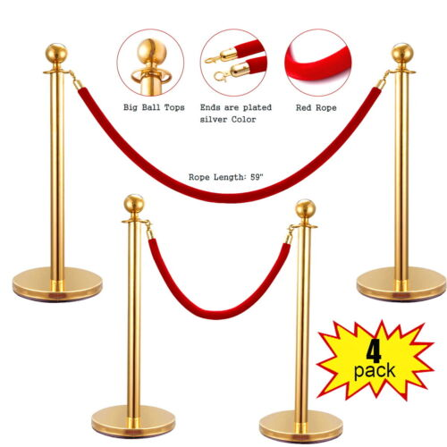 4Pcs Stanchion Post/Set/Rope Stainless Steel Retractable Queue Barrier Gold