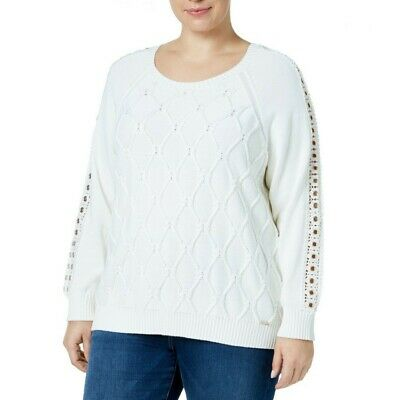 TOMMY HILFIGER NEW Women's Plus Size Cable-knit Grommet-trim Sweater Top TEDO Plus Cable Knit Trim Sweaters