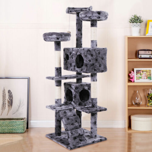 "60"" Cat Tree Tower Condo Furniture Scratching Post Pet Kitty Play House Grey Paw"
