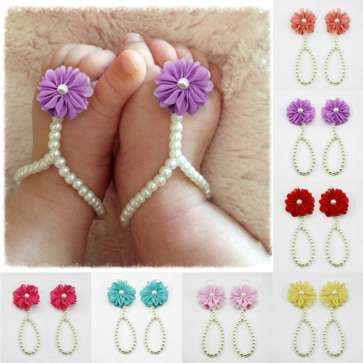 Summer Infant Sole Crib Barefoot Ring Flower Pearl Shoes Sandals For Kids Girl a 1