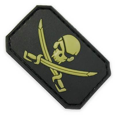 3D PVC Pirate Skull & Swords Velcro Military Biker Tactical Morale Patch Black