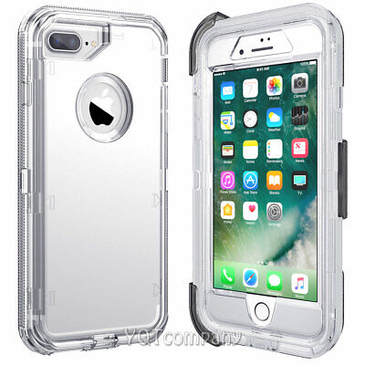 iPhone XS Max 8 7 6s Plus Transparent Clear Defender Cover Case +Clip Belt/Glass Clear Cover Case Clip