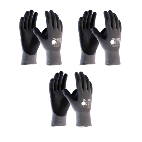 Maxiflex 34-874 Ultimate Nitrile Grip Work Gloves, Large, 3