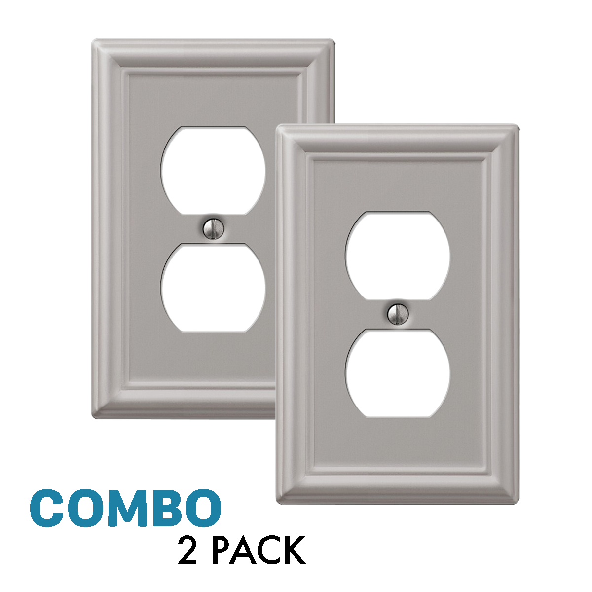 2-Pack Duplex Outlet Wall Plate Elegant Steel, Brushed Nickel Electrical Outlets, Switches & Accessories