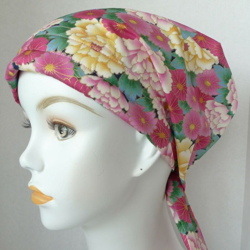 Pretty Oriental Floral Cancer Chemotherapy Hat Alopecia Hairloss Scarf Turban