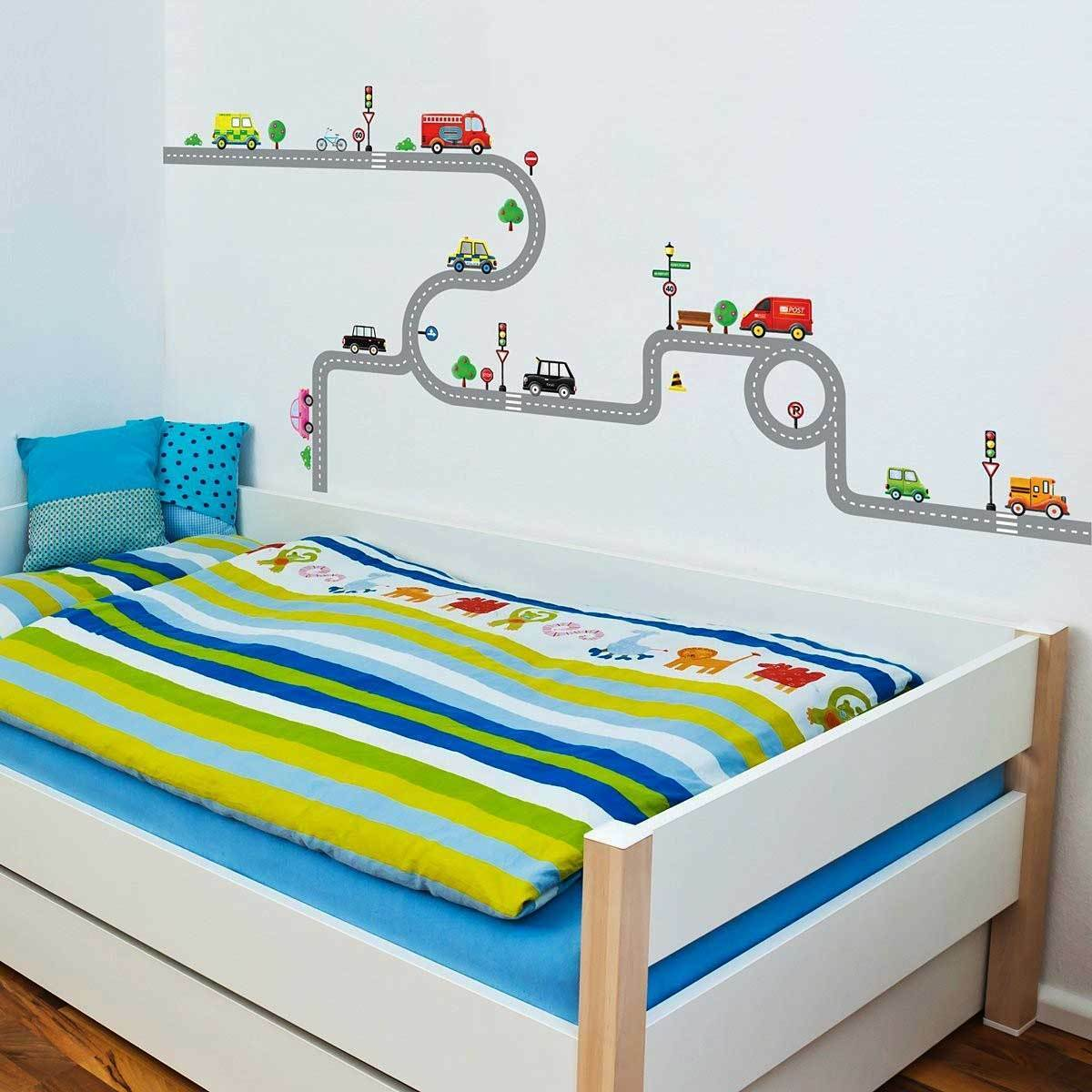 wandsticker wandpuzzle wandtattoo autobahn stra en autos kinderzimmer jungen eur 24 99. Black Bedroom Furniture Sets. Home Design Ideas