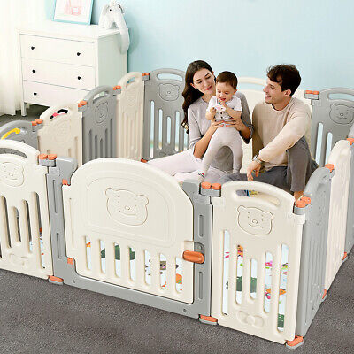 Foldable Baby Playpen 14 Panel Activity Center Safety KidsYard w/ Lock Door