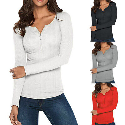 Spring Womens Henley Shirts Long Sleeve Blouse Ribbed Button Knit Sweater Tops