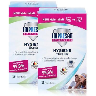Impresan Hygiene Tücher 12 Feuchttücher - Ideal für unterwegs (2er Pack)