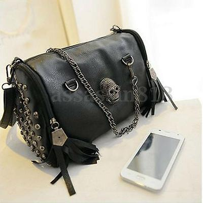 Women Skull Rivet Tassels Shoulder Bag Handbag Crossbody Satchel Tote Purse HOT